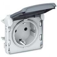 Plexo Розетка IP55 с заземлением в рамку серая 69571