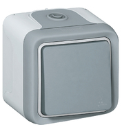 Plexo Выключатель/переключатель IP55 проходной одноклавишный наружный серый 69711