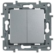 Выключатель двухклавишный алюминий Legrand Etlka 672402