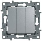 Выключатель трехклавишный алюминий Legrand Etlka 672413