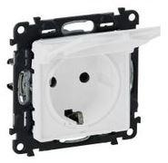 Розетка электрическая с заземлением с крышкой, автоматические клеммы, белый, Legrand Valena Life (753021/754840)