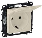 Розетка электрическая с заземлением с крышкой, автоматические клеммы, слоновая кость, Legrand Valena Life (753021/754841)