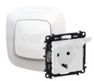 Розетка электрическая с заземлением с крышкой со шторками, белый, Legrand Valena Allure (753029/754845)