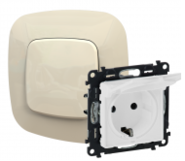 Розетка электрическая с заземлением с крышкой, автоматические клеммы, слоновая кость, Legrand Valena Allure (753021/754846)