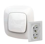 Электрическая розетка двойная с заземлением, автоматические клеммы, белый, Legrand Valena Allure (753027/754955)