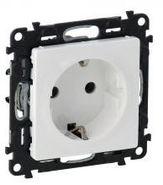 Розетка электрическая с заземлением со шторками, автоматические клеммы, белый, Legrand Valena Life (753030/755200)