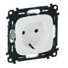 Электрическая розетка с заземлением с защитными шторками, автоматические клеммы, белый, Legrand Valena Allure (753030/755205)