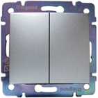 Проходной выключатель Legrand Valena Алюминий 2-клавишный 770108