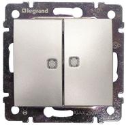 Выключатель двухклавишный Legrand Valena Алюминий с подсветкой 770128