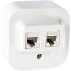 Розетка компьютерная 2 выхода - 2xRJ45 Cat 5E - белая