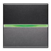 Выключатель одноклавишный 16А с зеленой подсветкой ABB Zenit антрацит (N2201 AN +  N2191 VD)