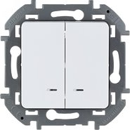 Выключатель 2 кл с подсветкой, 10 AX, 250 В - белый INSPIRIA 673630