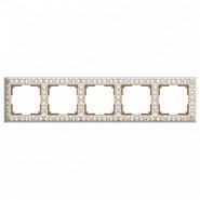 Рамка на 5 постов, WL07-Frame-05 - белое золото, металл, Werkel Antik