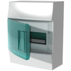 Бокс настенного монтажа, 8 модулей, зеленая прозрачная дверь, с клеммами, IP41, Mistral W - ABB