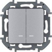 Выключатель 2 кл с подсветкой, 10 AX, 250 В - алюминий INSPIRIA 673632