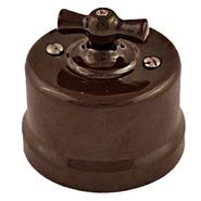 Выключатель 2кл, керамика, коричневый - Bironi