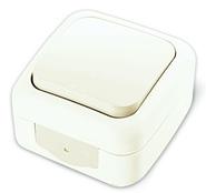 Переключатель проходной одноклавишный, IP54, настенного монтажа, белый VI-KO Palmiye 90555404