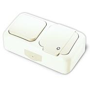 Блок Выключатель одноклавишный + Розетка с заземлением и крышкой, IP54, настенного монтажа, белый VI-KO Palmiye 90555481