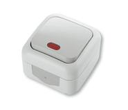 Выключатель одноклавишный с подсветкой, IP54, настенного монтажа, серый VI-KO Palmiye 90555519