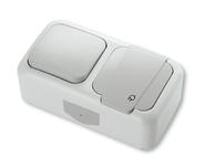 Блок Выключатель одноклавишный + Розетка с заземлением и крышкой, IP54, настенного монтажа, серый VI-KO Palmiye 90555581