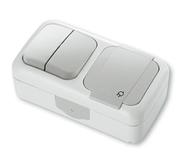 Блок Выключатель двухклавишный + Розетка с заземлением и крышкой, IP54, настенного монтажа, серый VI-KO Palmiye 90555582