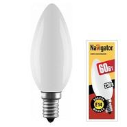 60W E14 Свеча матовая декоративная (лампа накаливания) ДС 60вт B35 230в Е14 (94309 NI-B)