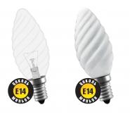 60W E14 Свеча витая матовая декоративная (лампа накаливания) ДС 60вт B35 230в Е14 (94331 NI-TC)