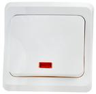 ЭТЮД Выключатель одноклавишный кнопочный скрытый с индикацией белый (KC10-002B)