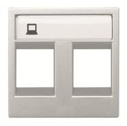 Лицевая панель для телефонной/компьютерной розетки двухместная - серебро, ABB Zenit (N2218.2 PL)