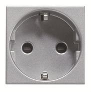 Розетка с заземление, шторками, винтовой зажим - серебро, ABB Zenit (N2288 PL)