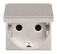 Розетка с заземлением, крышкой, шторками - серебро, ABB Zenit (N2288.1 PL)