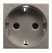 Розетка с заземлением, шторками, безвинтовыми клеммами - антрацит, ABB Zenit (N2288.6 AN)