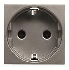 Розетка с заземлением, шторками, винтовой зажим - антрацит, ABB Zenit (N2288 AN)