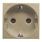 Розетка с заземлением, шторками, автоматическими клеммами - шампань, ABB Zenit (N2288.6 CV)