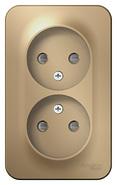 Розетка двойная без заземления со шторками, изол.пл.,16а,250в, наружная титан BLANCA (BLNRA001214 )