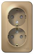 Розетка двойная с заземлением со шторками, изол.пл.,16а,250в, наружная титан BLANCA (BLNRA011214)