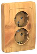 Розетка двойная с заземлением со шторками, 16А, 250В, скрытой установки ясень BLANCA (BLNRS001125)