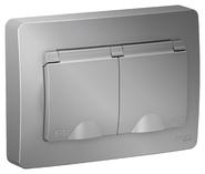 Розетка двойная ip 44 с заземлением со шторками 16А,250В, скрытой установки алюминий BLANCA (BLNRS441123)