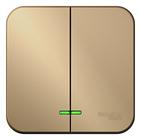 Выключатель двухклавишный  с подсветкой, (cх.5)10A, 250B, наружный  титан BLANCA (BLNVA105104)