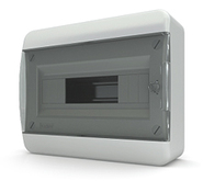 Tekfor бокс 12 модулей накладной IP40 прозрачная черная дверца, 290х240х102