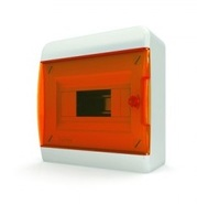 Tekfor бокс 8 модулей навесной IP40 прозрачная оранжевая дверца.