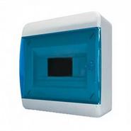 Tekfor бокс 8 модулей навесной IP40 прозрачная синяя дверца.