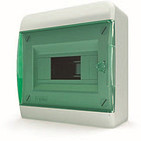 Tekfor бокс 8 модулей навесной IP40 прозрачная зеленая дверца.