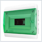 Tekfor бокс 8 модулей встраиваемый IP40 прозрачная зеленая дверца.