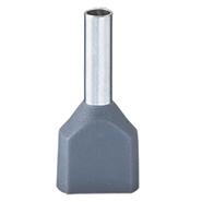 4 кв.мм. Наконечник-гильза двойная с изолированным фланцем, серый, НШвИ2 DKC (2ART5072)