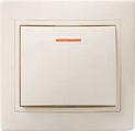 Выключатель одноклавишный скрытый бежевый с индикацией в сборе ИЭК КВАРТА EVK11-K33-10-DM