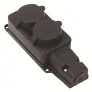 Розетка двойная наружная с заземлением каучук 16А IP44 Lezard (0400-0110)