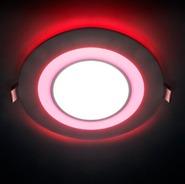 Светильник 3W 4000K круглый светодиодный встраиваемый с подсветкой (красный) 120 мм Feron (AL2550 8W)