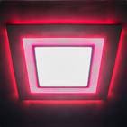 Светильник 8W 4000K квадратный светодиодный встраиваемый с подсветкой (красный) 120х120 мм Feron (AL2551 8W)