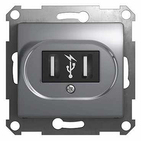 Розетка USB (2 х 5 В / 700 мА) - алюминий, Schneider Glossa